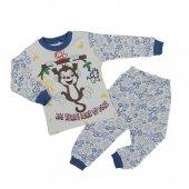 Erkek Bebek 1 3 Yaş Maymunlu Pijama Takımı