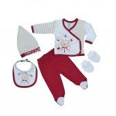 Erkek Bebek Ayı Modelli 5li Zıbın Seti