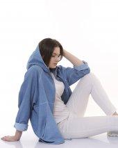 Fermuarlı, Kapşonlu Gabardin Kadın Ceket - Mavi