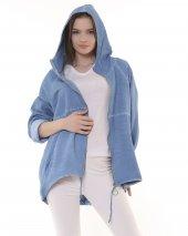 Fermuarlı, Kapşonlu Gabardin Kadın Ceket - Mavi-2
