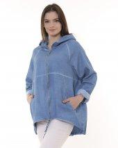 Fermuarlı, Kapşonlu Gabardin Kadın Ceket - Mavi-3