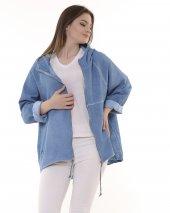 Fermuarlı, Kapşonlu Gabardin Kadın Ceket - Mavi-4