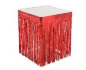 Masa Kenarı Eteği Ve Fonsüsü Metalize Kırmızı 1 Adet