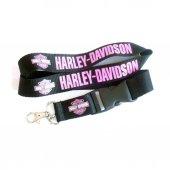 Harley Davidson Siyah Pembe Boyun Askı İpi Anahtarlık