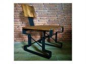 Ahşap Masif Panel Metal Ayaklı Dekoratif Lama Sandalye