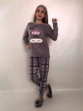 Snc Kadın İnci Polar Pijama Takımı Gri 7122