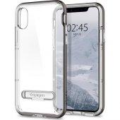 Spigen Apple İphone X Kılıf Crystal Hybrid Gunmetal 057cs22144