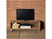 Doğal Ahşap Tekerli Tv Standı Metal Ayak Tv Duvar Ünitesi