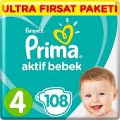 Prima Aktif Bebek Bezi 4 Beden Maxi 9 14 Kg 108 Li