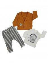 Erkek Bebek Ceketli 3lü Takım 6 18 Ay Sarı