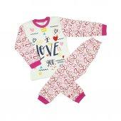 Kız Bebek Love Yazılı Pijama Takımı 4 6 Yaş Fuşya