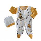 Kız Erkek Bebek Arı Baskılı Sarı 3 12 Ay Tulum