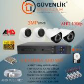 4 Kameralı 3mp Lensli Full Hd Full Set Güvenlik Kamerası Sistemi