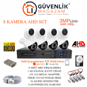 8 Kameralı 3mp Lensli Full Hd Full Set Güvenlik Kamerası Sistemi