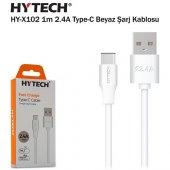 Hytech Hy X102 1m 2.4a Type C Beyaz Şarj Kablosu