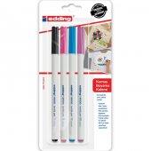 Kumaş Boyama Tekstil Kalemi Edding 4600 4 Lü Set, Soğuk
