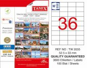 Tanex TW 2035 Lazer Etiket 52.5 x 33 mm