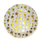 Yıldız Desenli Karton 10lu Parti Tabağı Altın