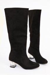 Süet Şeffaf Kısa Topuk Yuvarlak Burun Diz Altı Çizme Siyah
