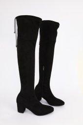Süet Kısa Topuk Çorap Çizme Siyah