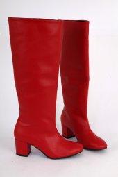 Mat Deri Kısa Topuk Yuvarlak Burun Diz Altı Çizme Kırmızı