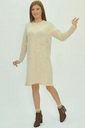 Kadın Uzun Kollu Mini Triko Elbise-2