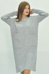 Kadın Uzun Kollu Mini Triko Elbise-6