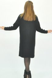 Kadın Uzun Kollu Mini Triko Elbise-12
