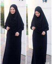 9046 K10 Siyah Namaz Hac Umre Kıyafeti