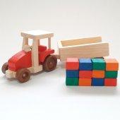 Renkli Ahşap Yapı Bloklu Oyuncak Traktör - Kırmızı-2