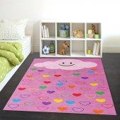Kidszone Antialerjik Çocuk Halısı 098 Renkli Kalpler Desen Pembe