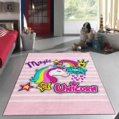 Kidszone Antialerjik Çocuk Halısı 059 Magic Unicorn Desen Pembe