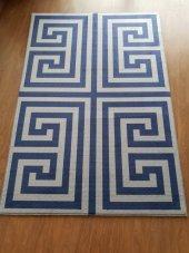 Halımax Fame 142 Gri Koyu Mavi PVC Kaymaz Taban(Ebat Seçenekli)