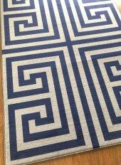 Halımax Fame 142 Gri Koyu Mavi PVC Kaymaz Taban(Ebat Seçenekli)-2