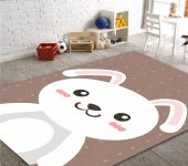 Cino Antialerjik Çocuk Halısı Tavşan 01 Kahverengi Beyaz