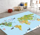 Cino Antialerjik Çocuk Halısı Eğitici Dünya Haritası Açık Mavi
