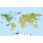 Cino Antialerjik Çocuk Halısı Eğitici Dünya Haritası Açık Mavi-2
