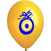 Nazar Boncuğu Baskılı 6lı Sarı Balon
