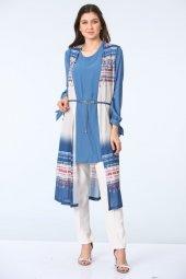 Bağlama Kollu Tunik Bluz Takım İndigo