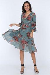 Kadın Kruvaze Yaka Kol Detaylı Astarlı Şifon Elbise