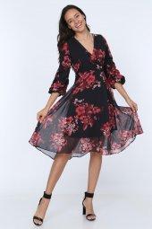 Kadın Kruvaze Yaka Kol Detaylı Astarlı Şifon Elbise-2