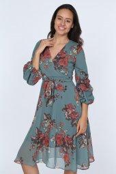 Kadın Kruvaze Yaka Kol Detaylı Astarlı Şifon Elbise-3
