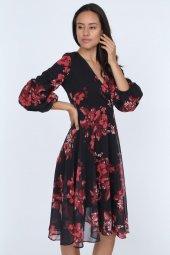 Kadın Kruvaze Yaka Kol Detaylı Astarlı Şifon Elbise-4