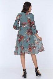Kadın Kruvaze Yaka Kol Detaylı Astarlı Şifon Elbise-5
