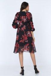 Kadın Kruvaze Yaka Kol Detaylı Astarlı Şifon Elbise-6