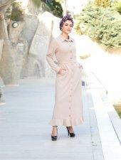Yakalı Boydan Düğmeli Elbise Bej 19k33