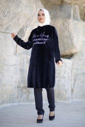 Baskılı Kapşonlu Kadife Tunik Siyah 19k20