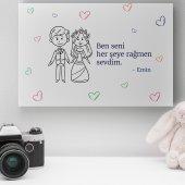 Kişiye Özel Romantik Tasarımlı Mini Kanvas 10