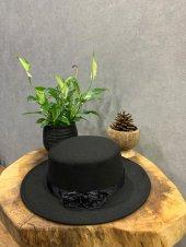 Felice Butik 9132 Kumaş Aksesuar Detaylı Yün Siyah Kadın Şapka