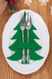 6lı Yeşil Çam Ağacı Motifli Peçetelik Runner...